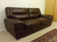 Excellent condition 2 and 3 seater brown leather sofas