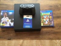 Sony PS4 500gb Slim Console c/w original box, games, headset and wireless controller