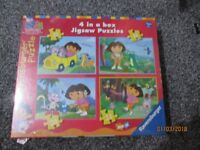 DORA THE EXPLORER JIGSAW PUZZLES X4 IN 1 BOX NEW STILL SEALED