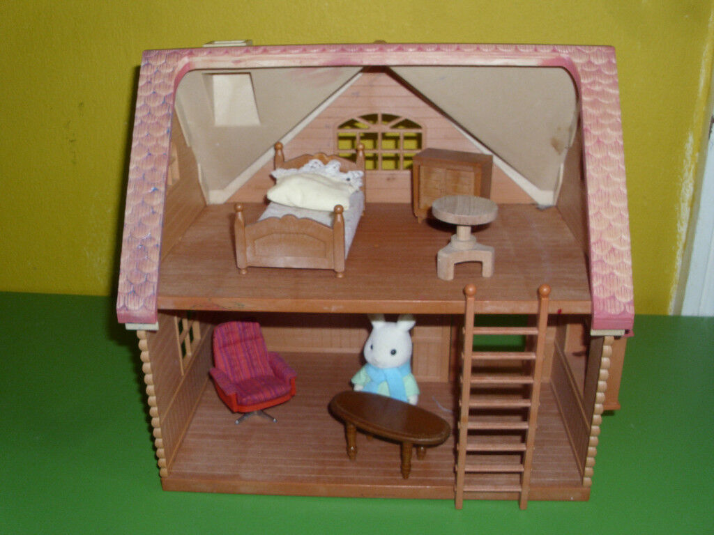 SYLVANIAN HOUSE, FURNITURE AND SYLVANIAN RABBIT.