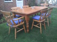 Good quality pine dining table & six chairs
