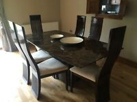 Marble dining table + 6 chairs for sale