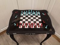 custom chess resin set/board table with pieces, side, coffee table, chess and checkers board game