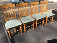 Four solid pine chairs