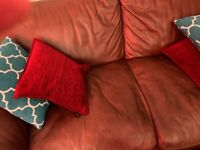 Brown leather used sofas 2 seater and 3 seater sofa
