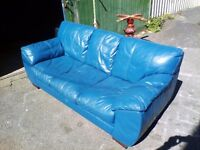 Lovely Large Blue Leather 3 Seater Sofa - Delivery Available