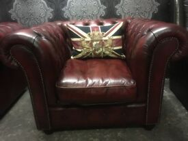 Stunning Chesterfield Club Arm Chair in Oxblood Red Leather Low Back - UK Delivery