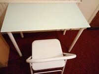 Nice and clean ikea glass desk with chair in excellent condition