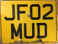 Private plate/Personalised number plate, JF02 MUD. Off road