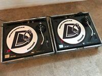 Technics SL 1210 MK2 Turntables + Cases + Concordes