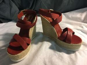 YSL YVES SAINT LAURENT Shoes Cork Platform Espadrille Wedge Sandals ( Size 9.5 US - 39.5 EU ) DailyDeals