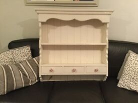 Pine cream distressed shelving unit with 3 drawers