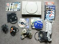 Console Playstation PS1 for spares + controller + games bundle