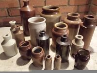 17 Vintage Stoneware Earthenware Glazed Pots Jars Jugs and Pitchers