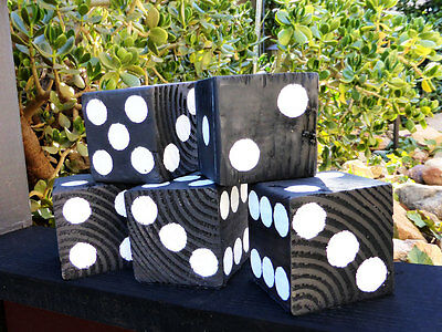 1 Jumbo Lawn Yard Wood DICE - Black 3.5