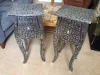 Metal embossed antique-style bedside tables (pair)