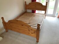 Double Solid Wooden Bed - Immaculate Condition