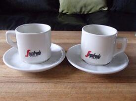 SEGAFREDO CAPPUCCINO LATTE ESSPRESSO COFFEE CUPS AND SAUCERS (SET OF 2)