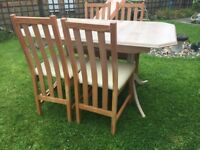 EXTENDING DINING TABLE AND HIGH BACK CHAIRS £50