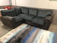 New corner sofa fabric - Grey-Blue-brown- Same Day delivery contact (07824) 772721
