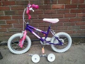 "Girls pink & purple 14"" bike"