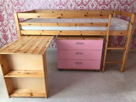 Cabin bed with mattress & pink draw & desk