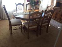 Beautiful Teak Solid Dinning Table 6 Chairs