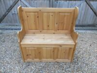 MONKS BENCH, SETTLE WITH STORAGE. Delivery poss. Also : CHURCH PEWS, PINE BENCHES, TABLE & CHAIRS.