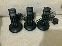 3x bt trio graphite home landline phones cordless