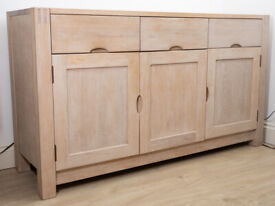 Solid Oak Sideboard 3 Drawers 3 Cupboards Cabinet Storage
