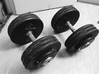 2x35kg rubber covered dumbbells