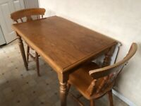 SOLD PINE KITCHEN TABLE AND 2 PINE CHAIRS