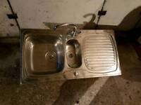 Steel kitchen sink 1.5 bowl