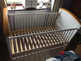 Solid wood white COT BED