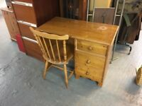 Solid pine desk and chair, delivery available