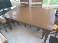 SOLID HEAVY DARK HARDWOOD DINING TABLE + 6 MATCHING CHAIRS