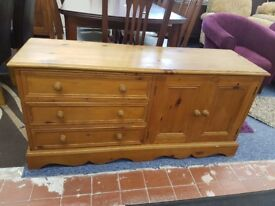 Solid pine sideboard with 3 drawers and cupboard