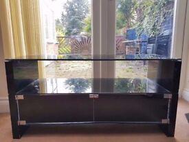 Black All Glass TV trolley