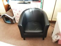 Free white settee,2 black leather tub chairs