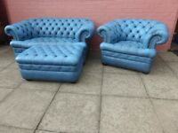 A Light Blue Leather Chesterfield Three Piece Suite