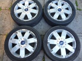 """FORD 17"""" 5 STUD ALLOY WHEELS WITH DECENT TYRES AND NUTS"""