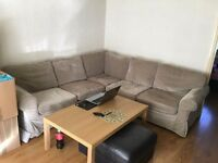 IKEA fabric CORNER SOFA in excellent condition - new cover // delivery available