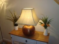 BEAUTIFUL COPPER ANNEALED TABLE LAMP WITH SHADE ,EXCELLENT CONDITION
