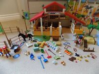 Playmobil Pony Farm, Jeep and Trailer and Horse Wash sets