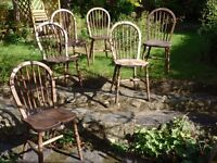 Set of Six Beech Stickback Windsor Chairs & 1 extra, Kitchen/Dining utility
