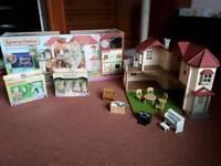 Sylvanian Family Beechwood Hall with Cat Family & New Arrival Sets