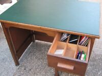 Green top desk. Office desk. Antique furniture. Free local delivery