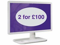 "2 White 24"" Benq Monitors for £100 (£50 each) - almost new"
