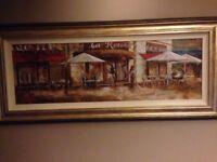 Paris cafe scene framed painting
