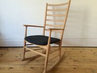 Vintage Mid Century Danish Style Beech Rocking Chair Stripped & Reupholstered